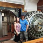 Shawshank fans have their photo taken at the bank vault used in The Shawshank Redemption.